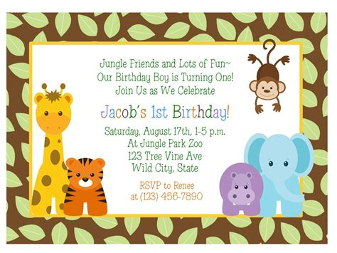 Animal Birthday Card Template by Jungle Animals 1st Birthday Invitation Baby Shower