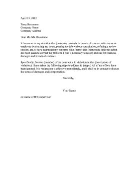 Resignation Letter Sle No Contract Breach Of Contract Resignation Letter