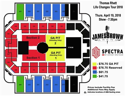 thomas rhett fan club presale augusta entertainment complex james brown arena bell