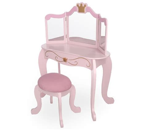 Kidkraft Vanity And Chair Kidkraft Princess Vanity W Mirror And Fabric Covered Stool Qvc