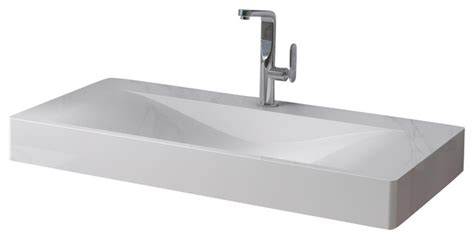 adm matte white wall hung solid surface sink