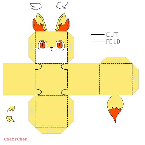 Simple Papercraft Templates - fennekin template papercraft by charrchan on deviantart