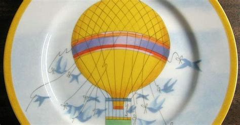 Tag8005 Blue whimsical yellow air balloon blue birds sky gold edge plate japan blue and and air