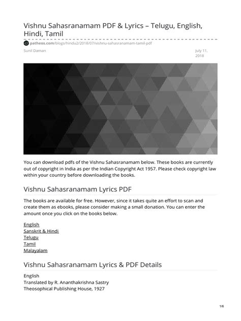 Vishnu Sahasranamam PDF & Lyrics – Telugu, English, Hindi