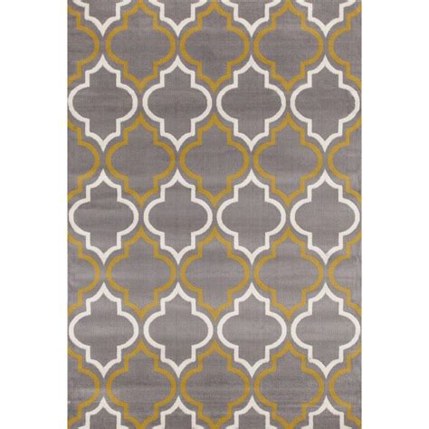 World Rug Gallery Modern Moroccan Trellis Gray Yellow 5 Ft Modern Trellis Rug