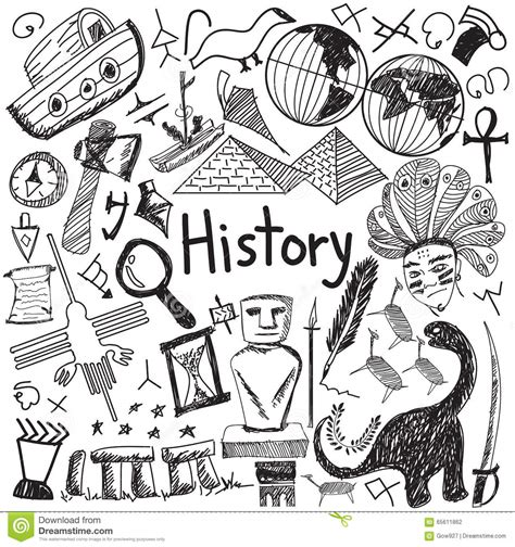 doodle god mysterious stones history education subject handwriting doodle icon stock