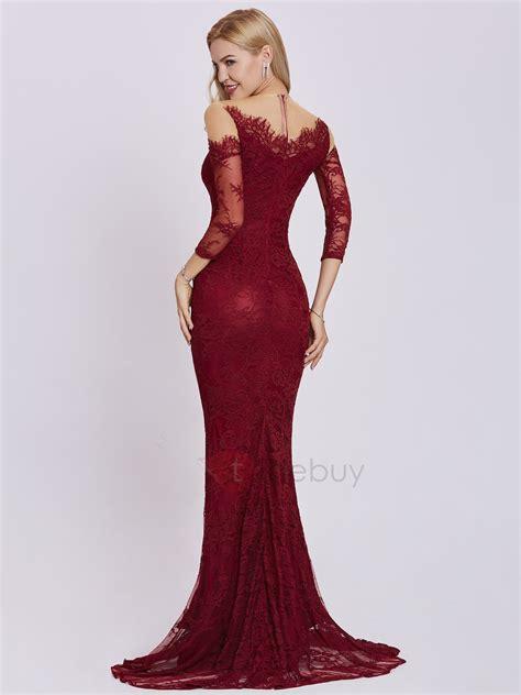 color tinto vestido de sirena de encaje color tinto tidebuy
