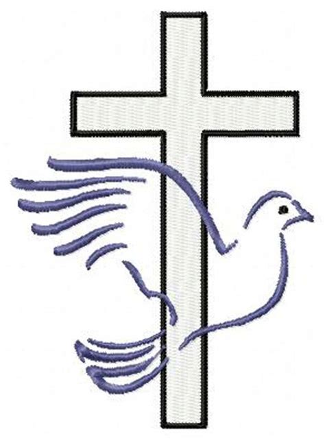 embroidery design cross cross with dove christian machine embroidery design