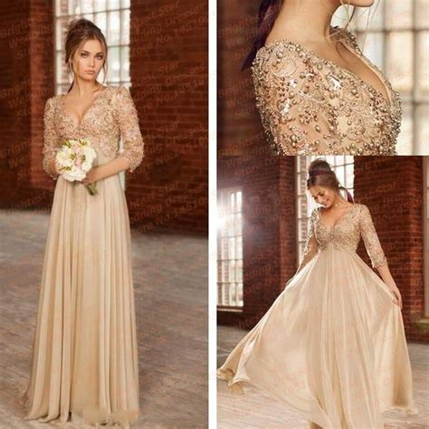 New V Neck Beaded With Pearls Appliqued Lace Long Sleeve Evening Dresses For Pregnant Women