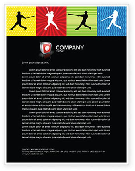 Baseball Bat Hit Letterhead Template Layout For Microsoft Word Adobe Illustrator And Other Baseball Letterhead