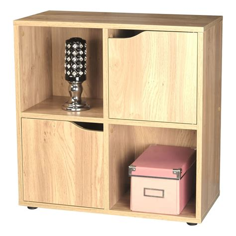 4 shelf bookcase with doors oak 4 cube 2 door wooden storage unit display shelving