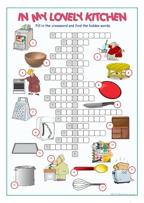 kitchen crossword puzzle worksheet free esl printable