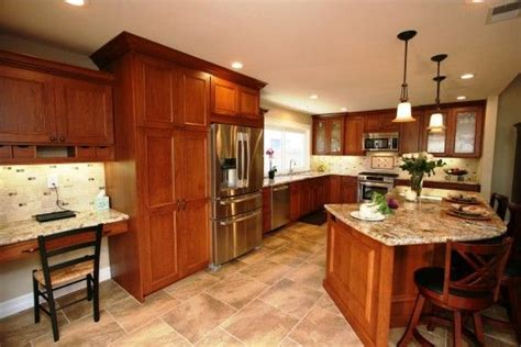 cherry cabinets with light counters kitchen pinterest kitchen light cherry cabinets travertine floors design