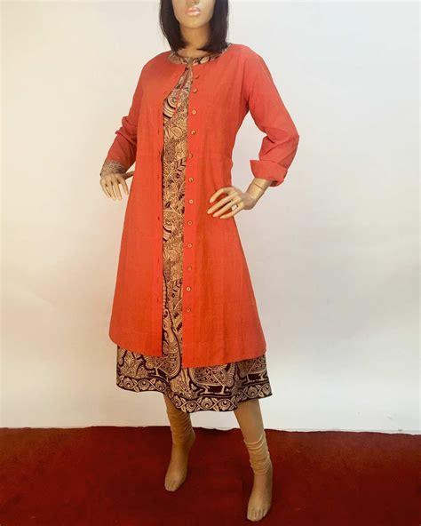 kurti pattern with jacket orange beige pure cotton kurti long jacket the