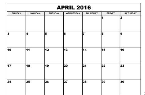 image gallery month calendar april 2016