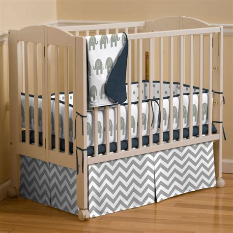mini crib bed set navy and gray elephants 3 piece mini crib bedding set