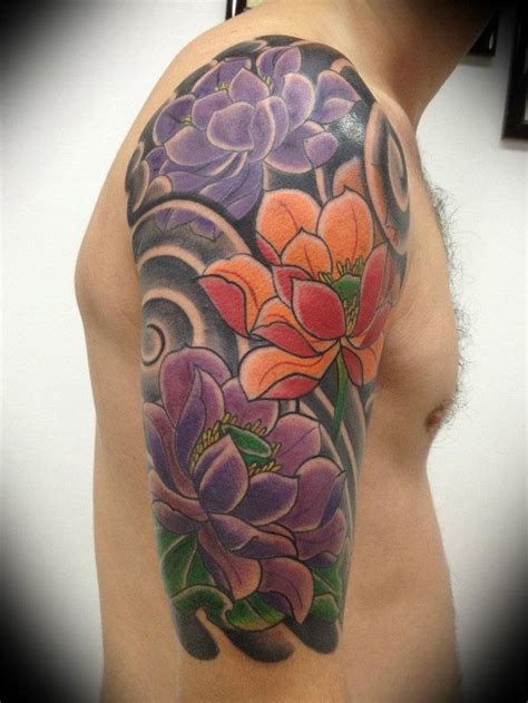 mens flower tattoo sleeve designs 48 lotus tattoos ideas for