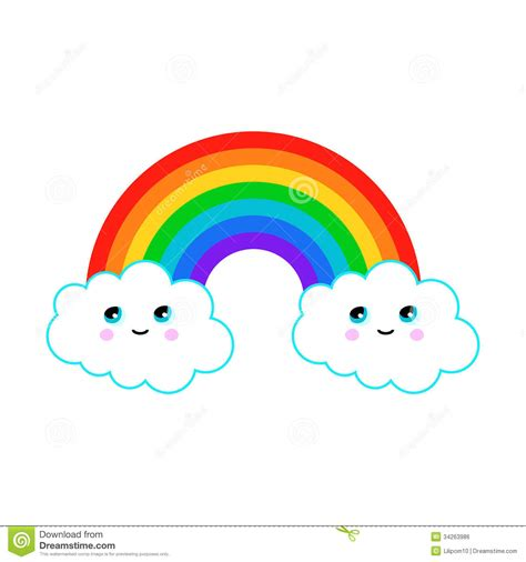 Stelan Rainbow Black illustration of a rainbow with clouds stock vector