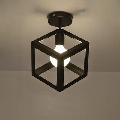 Cube Ceiling Light Mini Cube Shape Semi Flush Ceiling Light In Cage Style Beautifulhalo