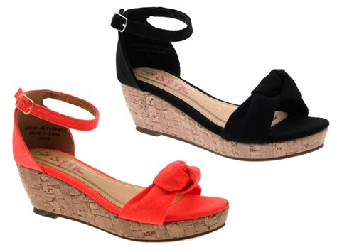 cork canvas low wedge strappy sandals