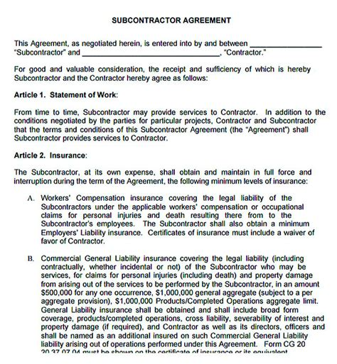 11 Subcontractor Agreement Template For Successful Contractor Company Subcontractor Agreement Template For Professional Services