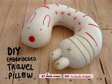 Travel Pillow Diy by Diy Embroidered Travel Pillow Handmade