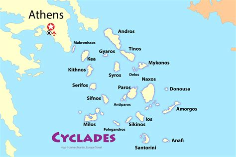 map of greece islands cyclades map and travel guide