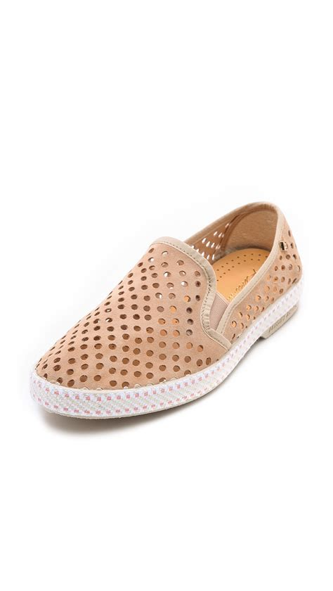 perforated slip on sneaker rivieras sultan slip on perforated sneakers in beige lyst