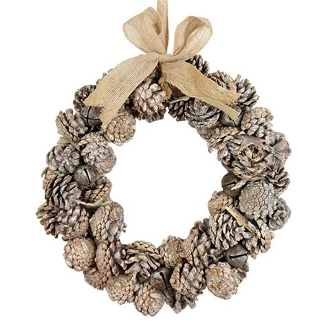 pine cone wreath with jingle bells the essentials company