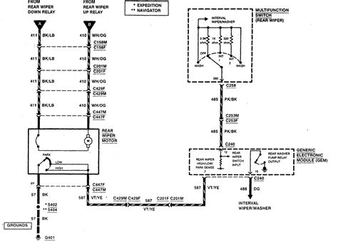 wiring diagrams for 2007 ford expedition rear wiper motor