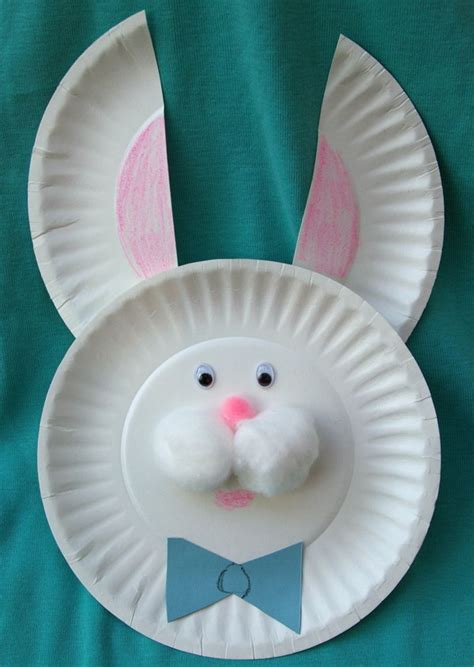 pin paper plate bunny mask craft on