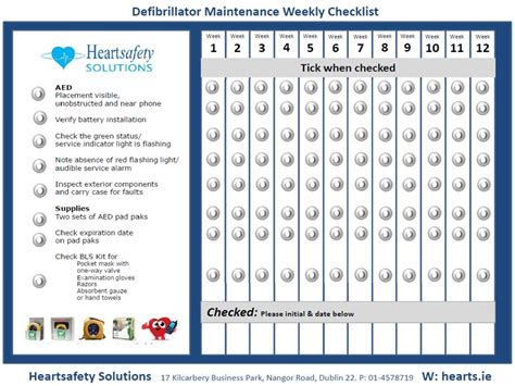 Checking Your Aed Defibrillator Heart Safety Ireland Aed Maintenance Checklist Template