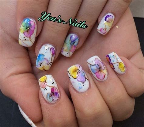 water color nails day 329 watercolor flower nail flower nail