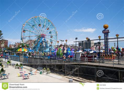 theme park new york coney island amusement park editorial stock photo image