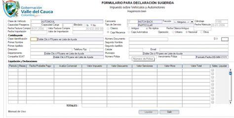 www valledelcauca gov co impuestos de vehiculo 2016 impuesto de veh 237 culos valle del cauca impuestos por