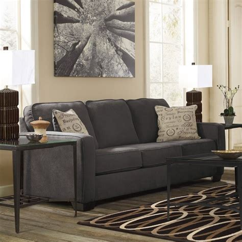 ashley furniture sectional microfiber ashley furniture alenya microfiber sofa in charcoal 1660138