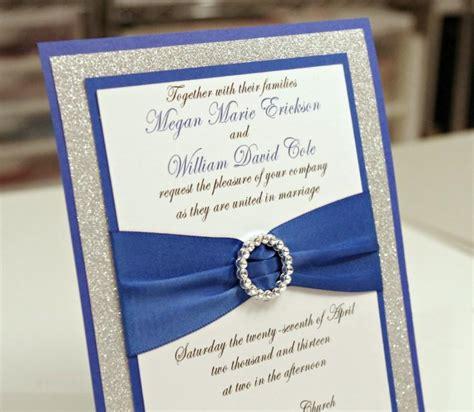 wedding invitations royal blue and silver stunning royal blue silver glitter wedding invitation