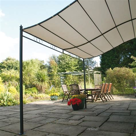 Patio Canopy Gazebo 8 2 Quot X 6 7 Quot Ft 2 5 X 2m Wall Mounted Garden Canopy Patio Awning Metal Canopies Pergolas