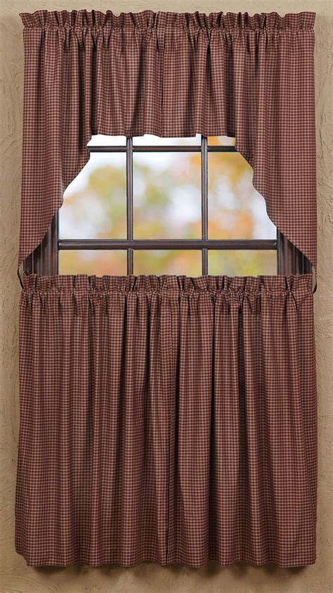 36 inch cafe curtains bancroft burgundy check 36 inch cafe curtains by vhc