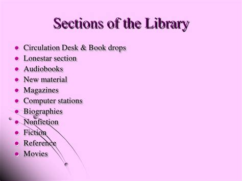 sections in the library ac new library orientation