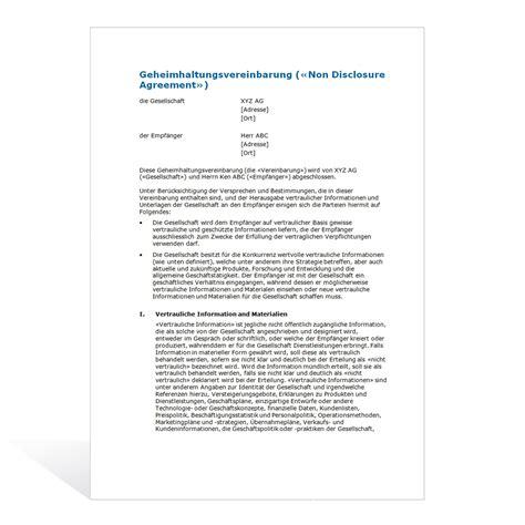 Bewerbung Englisch Sle Gegenseitige Vertraulichkeitsvereinbarung Gegenseitige