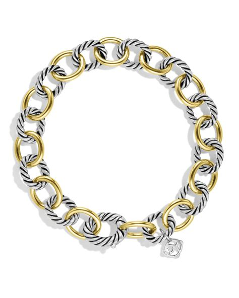 David Yurman Oval Link Bracelet With Gold in Silver (Silver/Yellow Gold)   Lyst