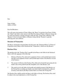 letter of intent to purchase template doc 585700 letter of intent to purchase business