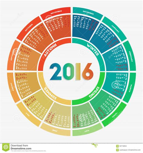 colorful round calendar 2016 stock vector image 59718264