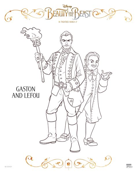 beauty and the beast coloring pages gaston disney beauty and the beast gaston and lefou coloring page