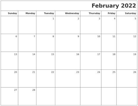 printable undated calendars february 2022 printable blank calendar