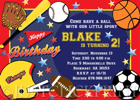 sports themed birthday invitations 8 best images of printable sports birthday party