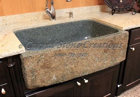 granite kitchen sinks 4 natural boulder sink designs carved stone creatations