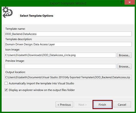visual studio how to create a solution template with