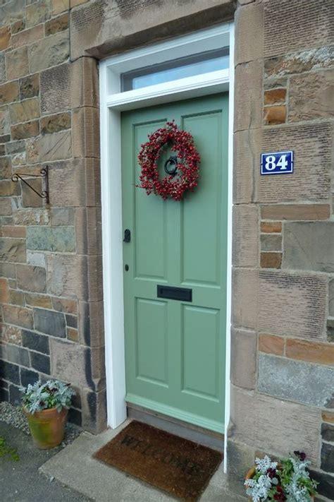 Krista S Festive Front Door In Farrow Ball S Calke Green Farrow And Front Door Colours